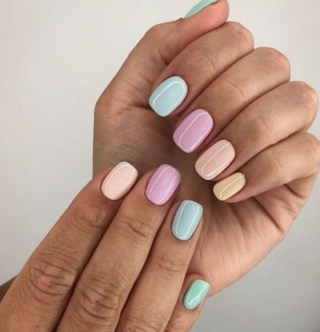 Spring Skittle Mani - Spring Nail Trends Halo Hand