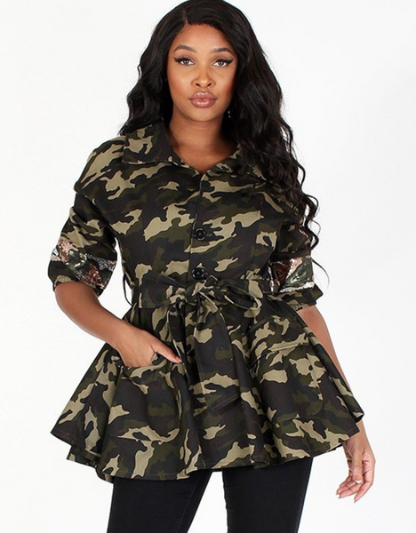 """CAMO SEQUIN JACKET"""