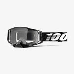 Goggle- Ride 100% ARMEGA® Black Goggle Moto/MTB, Silver Flash Mirror & Clear Lens