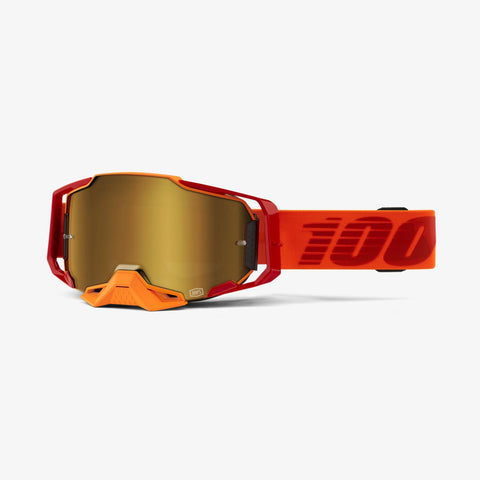 Goggle- Ride 100% ARMEGA® Litkit, Goggle Moto/MTB, Orange, True Gold Mirror & Clear Lens