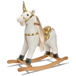 JOON Rocking Horse Unicorn with Sound Effects, White-Gold