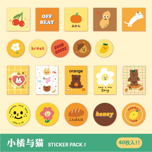 40 Pcs Bear Biscuit Stickers