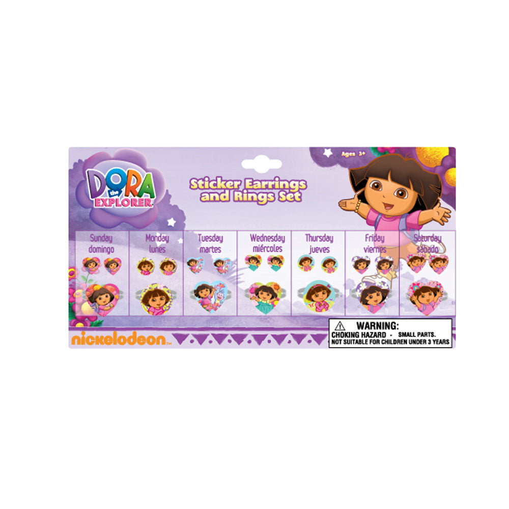DA2058-NJ - Dora the Explorer 7 day ring and earring  set (Available now) , Licensed - FDR, Madly Deeply Co. - 1