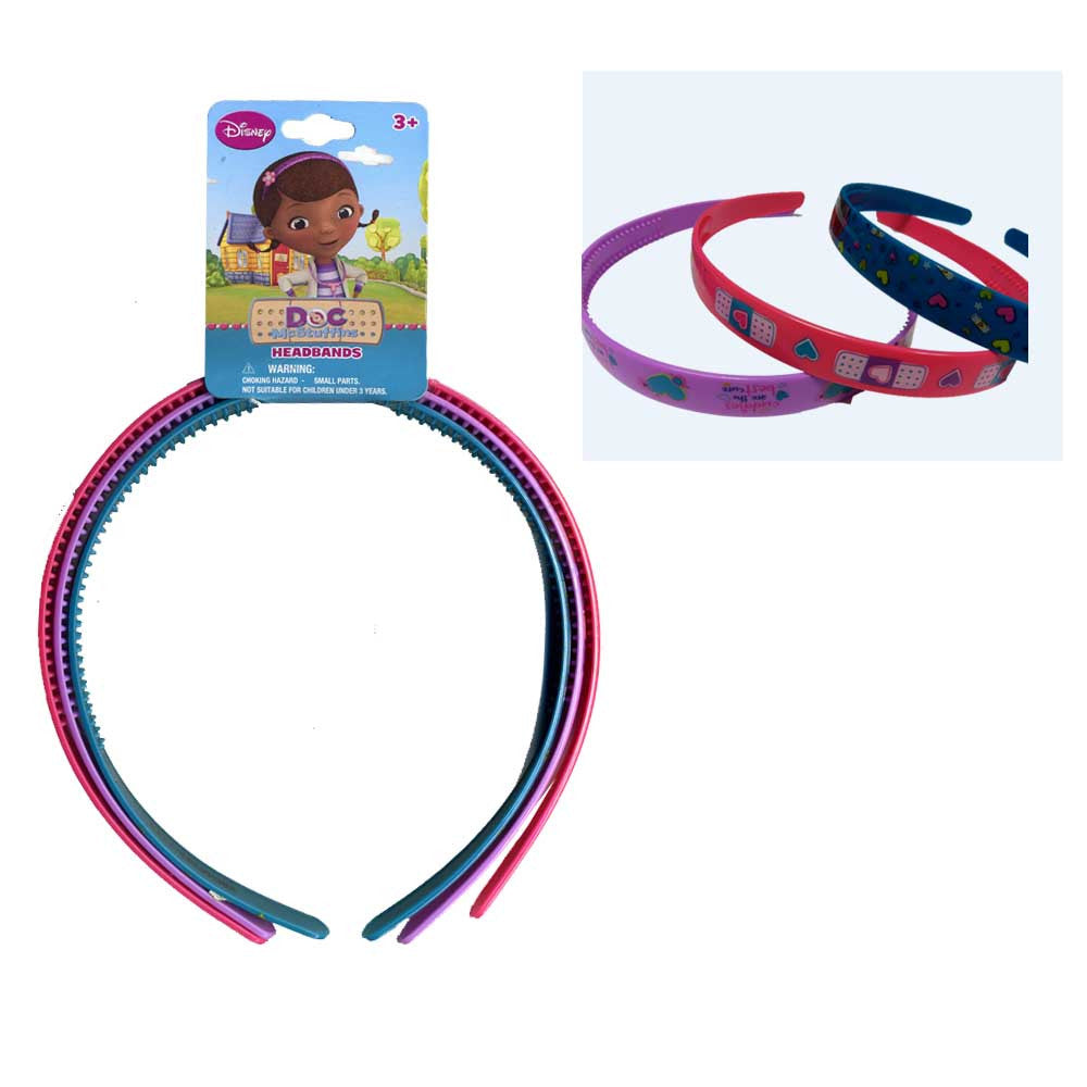 "do149-nj  - Doc Mcstuffins 3 on card 0.5"" plastic headband (Available Now)"