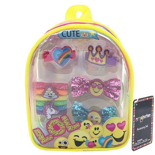 em111-NJ - Emojination backpack with assorted HAIR ACCESSORIES (Available Now)