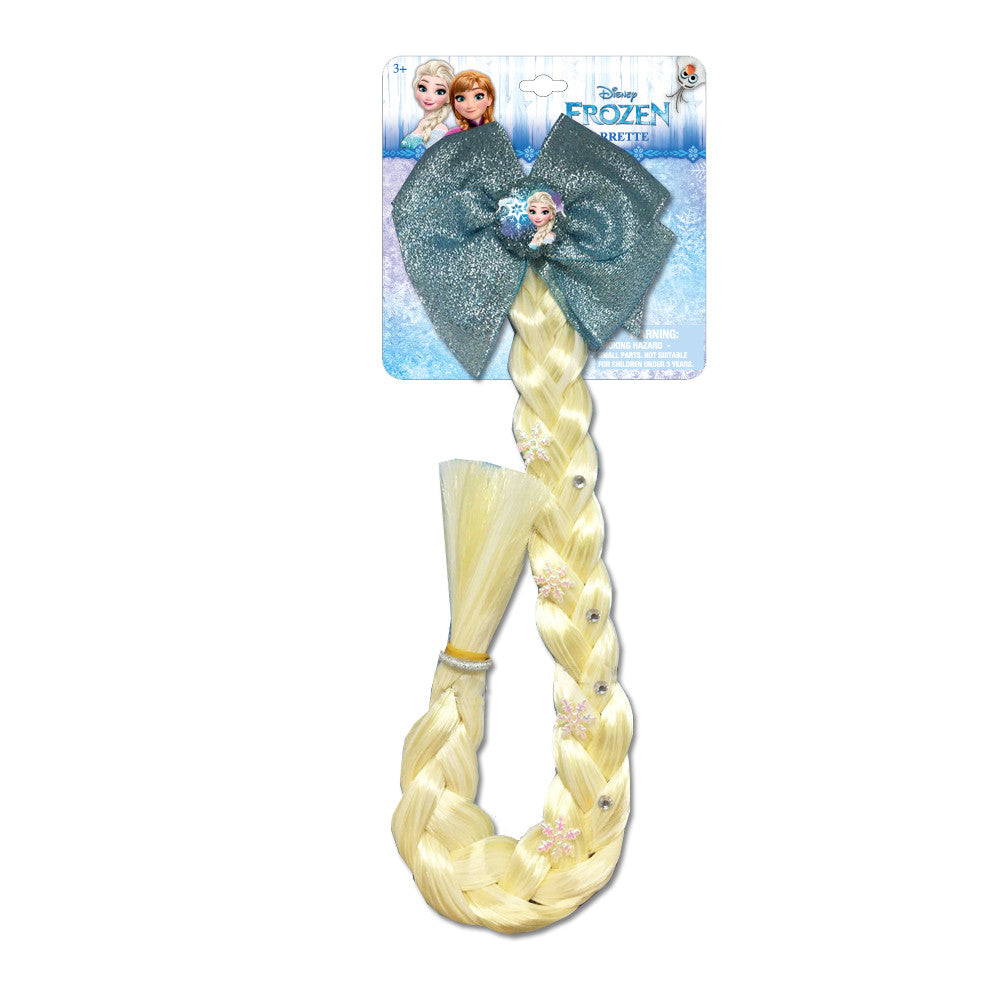 "fz1226-NJ- Disney Frozen 16"" Faux Hair Braid on bow claw clip  (Available Now) , Licensed - INV, Madly Deeply Co. - 1"