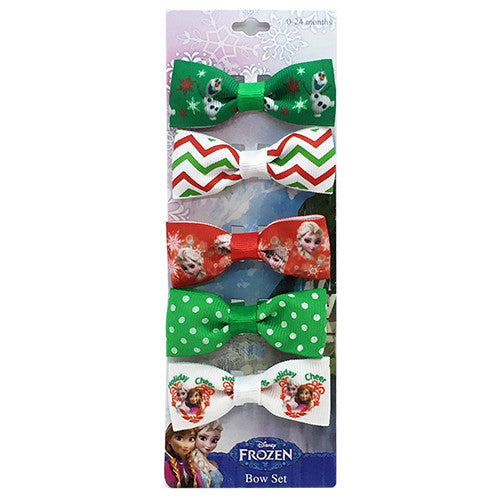 "fz639-NJ - Frozen 5 on a card 1"" bows on fabric covered salon clips (Available now) , Licensed - INV, Madly Deeply Co. - 1"