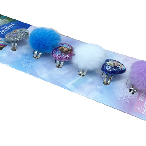 fz692-NJ -  Frozen Disney 6 on a card frozen rings w printed poly glitter motifs and faux fur balls  (Available Now) , Licensed - INV, Madly Deeply Co. - 1