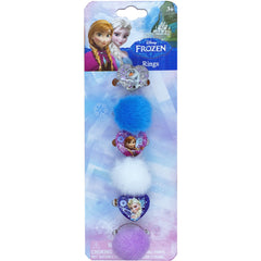 fz692-NJ -  Frozen Disney 6 on a card frozen rings w printed poly glitter motifs and faux fur balls  (Available Now) , Licensed - INV, Madly Deeply Co. - 3