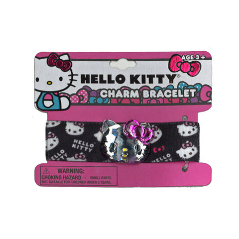 hk1696-NJ - Hello Kitty 1 on a card elastic bracelet w charm (Available Now) , Licensed - INV, Madly Deeply Co.
