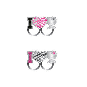 hk549-NJ - Hello Kitty double finger adjustable RING  (Available Now)