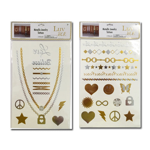 lh1448-LA - Luv Her - 2 sheets metallic tattoo JEWELRY (Available Now)