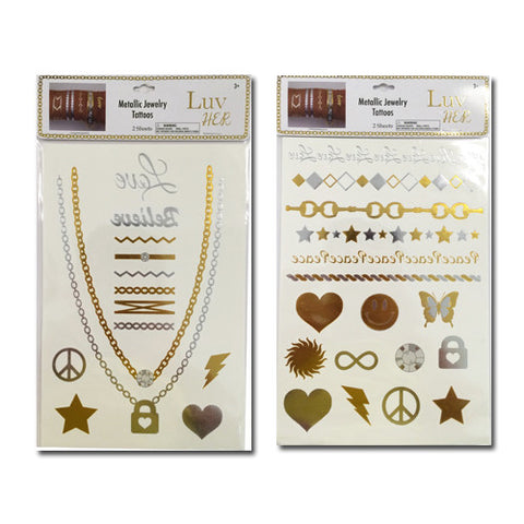 lh1448-LA - Luv Her - 2 sheets metallic tattoo jewelry (Available Now) , Licensed - INV, Madly Deeply Co. - 1
