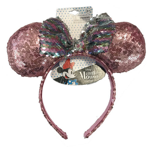 mm1955-LA - Minnie Mouse 1 on a card double sequin headband (Accepting Pre-order June 2019)
