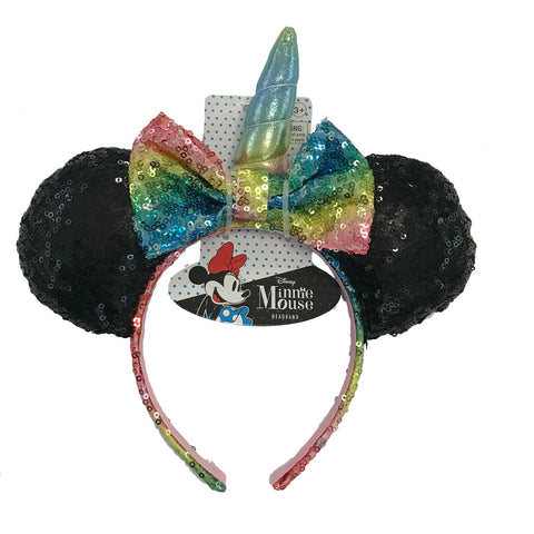 mm1891-LA -Minnie Mouse Sequin rainbow minnie ears with unicorn horn headband (November 2018 Pre-order)