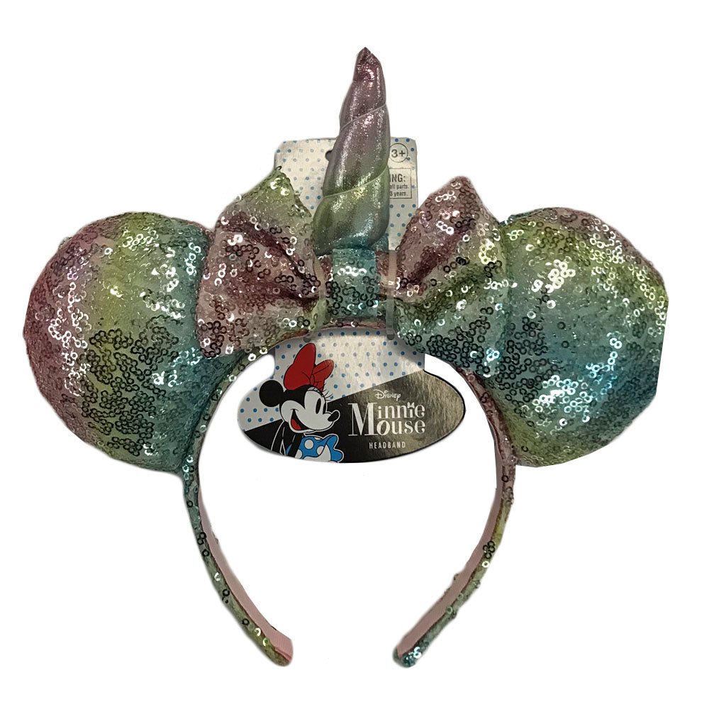mm1892-LA - Minnie Mouse Sequin rainbow ears with unicorn horn headband (Available Now)