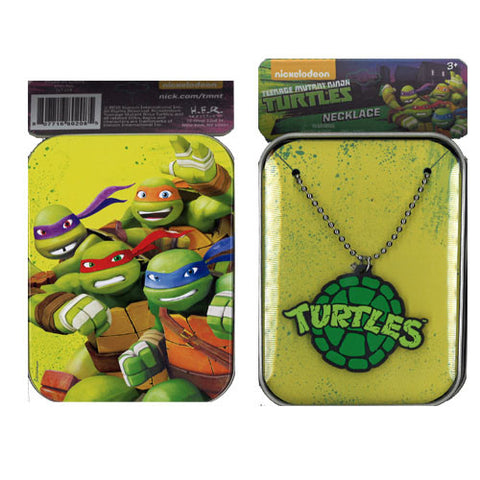 nt208-NJ - Ninja Turtles printed tin case with rubber charm necklace (Available Now) , Licensed - INV, Madly Deeply Co. - 1