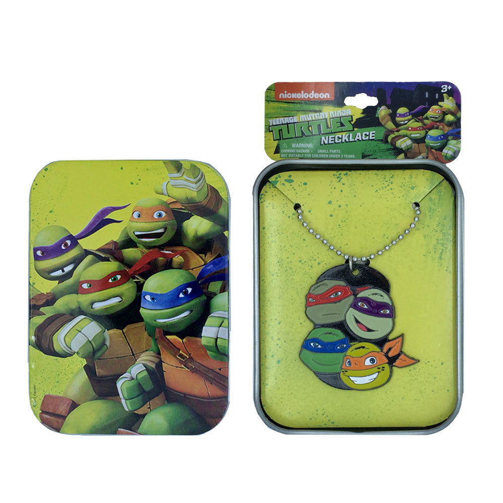 nt242-NJ - Ninja Turtles printed tin case with rubber charm necklace(Available Now) , Licensed - INV, Madly Deeply Co. - 1