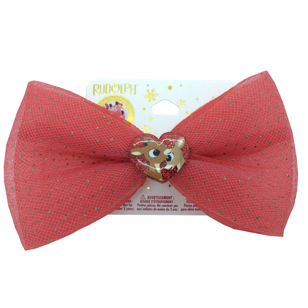 "ru001-NJ - Rudolph 1 on a card 5"" glitter tulle bow on french barrette w motif  (Available Now) , Licensed - INV, Madly Deeply Co. - 1"