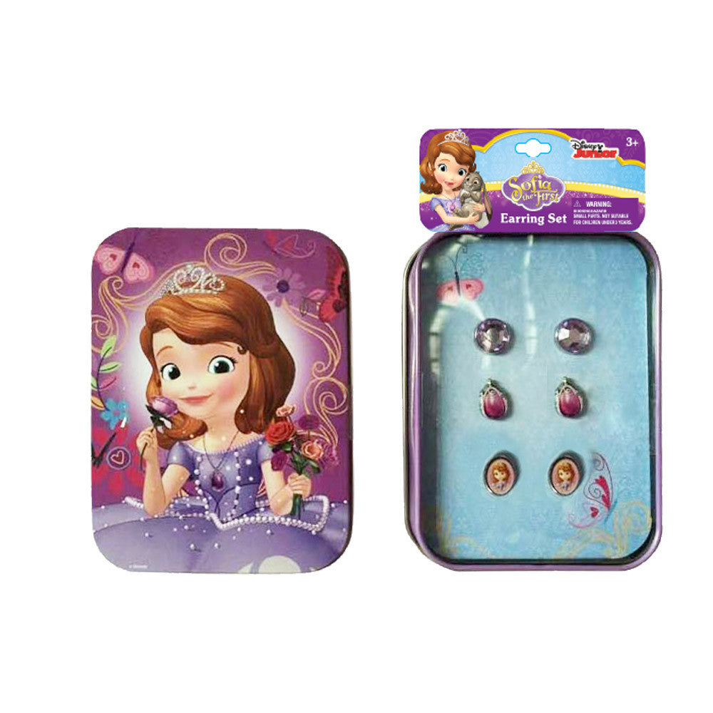 sa392-NJ - Sofia the First printed tin case with 3 pair earrings  (Available Now)