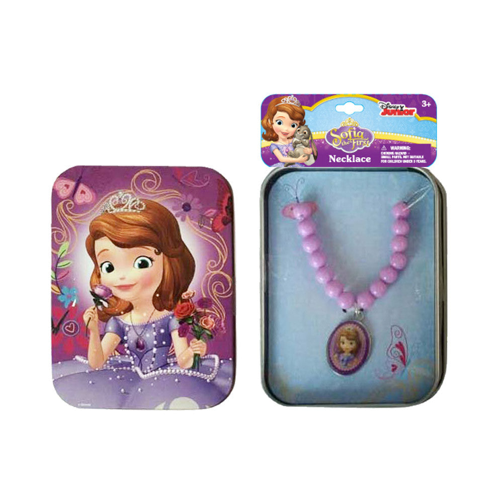 sa412-NJ - Sofia the First printed tin case with necklace (Available Now)
