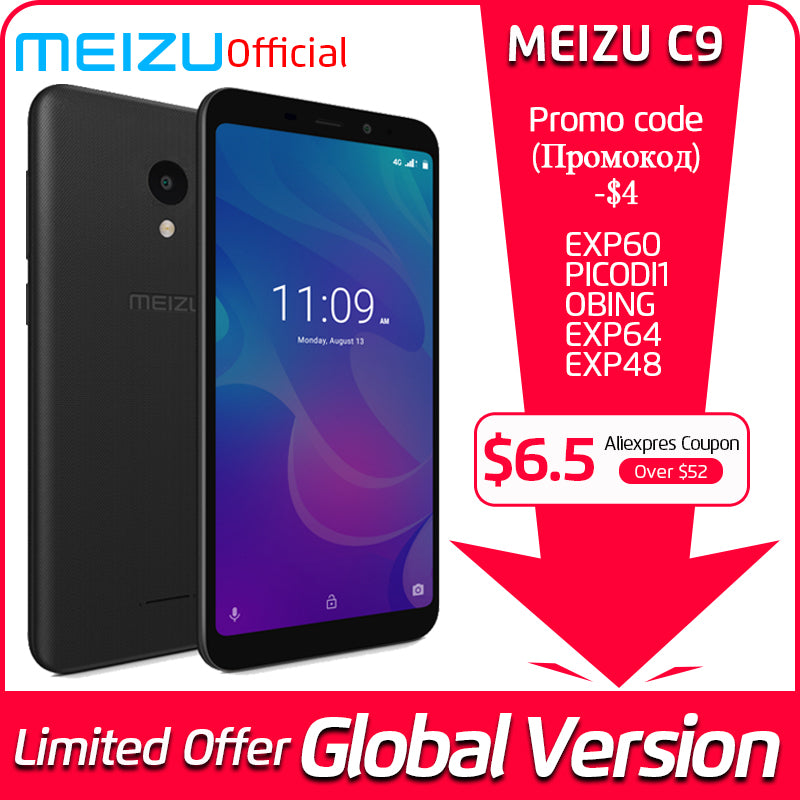 Meizu C9 2GB 16GB Global Version Mobile Phone Quad Core 5.45 inch 1440X720P Front 8MP Rear 13MP Camera 3000mAh Battery