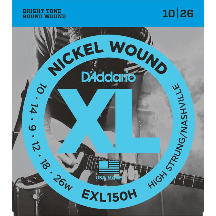 D'Addario EXL150H Nickel Wound Electric Guitar Strings - High-Strung/Nashville Tuning - 10-26