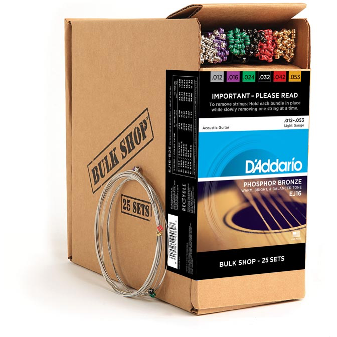 D'Addario EJ16-B25 Phosphor Bronze Acoustic Guitar Strings - Light - 25 Bulk Sets