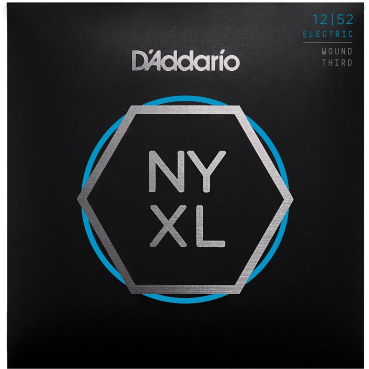D'Addario NYXL1252W Nickel Wound Electric Guitar Strings - Light Wound 3rd - 12-52