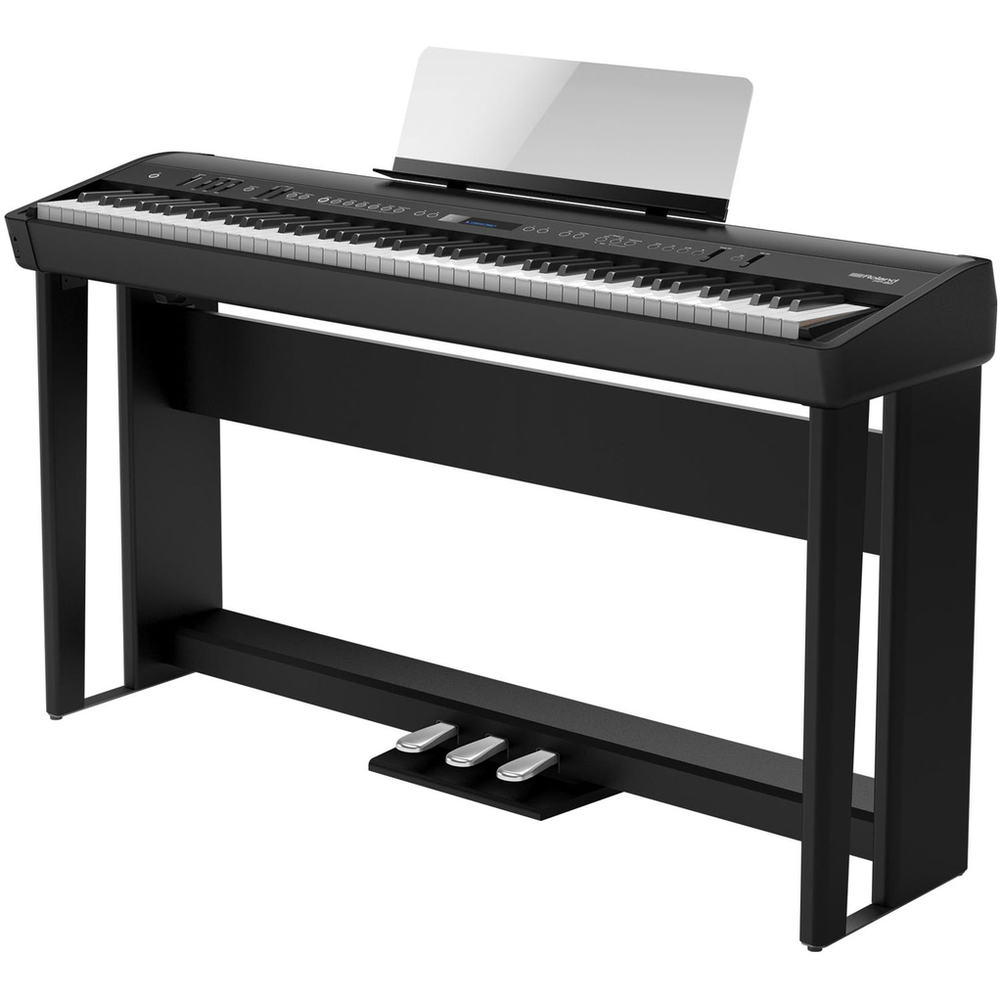 Roland FP90BKS Digital Piano Bundle including Stand - Pedal Board & Bench - Black