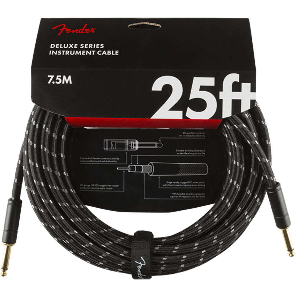 Fender Cable - Deluxe Series - 25' Black Tweed