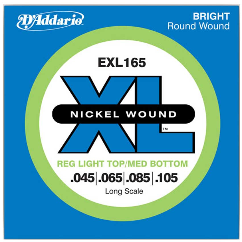 D'Addario EXL165 Nickel Wound Bass Guitar Strings - Custom Light - 45-105 - Long Scale