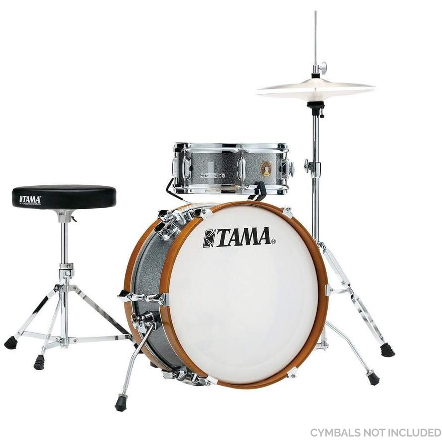 "The TAMA Club-JAM Mini 2-piece complete kit with 18"" Bass Drum, Hi-Hat Stand, Drum Pedal, Snare Stand & Drum Throne Hardware in - Galaxy Silver(GXS)"