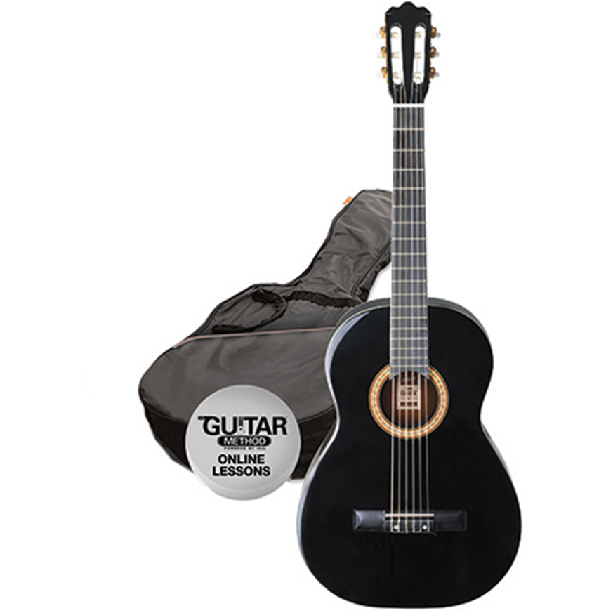 Ashton SPCG12 BK Classical Guitar Starter Pack - 1/2 Size - Black