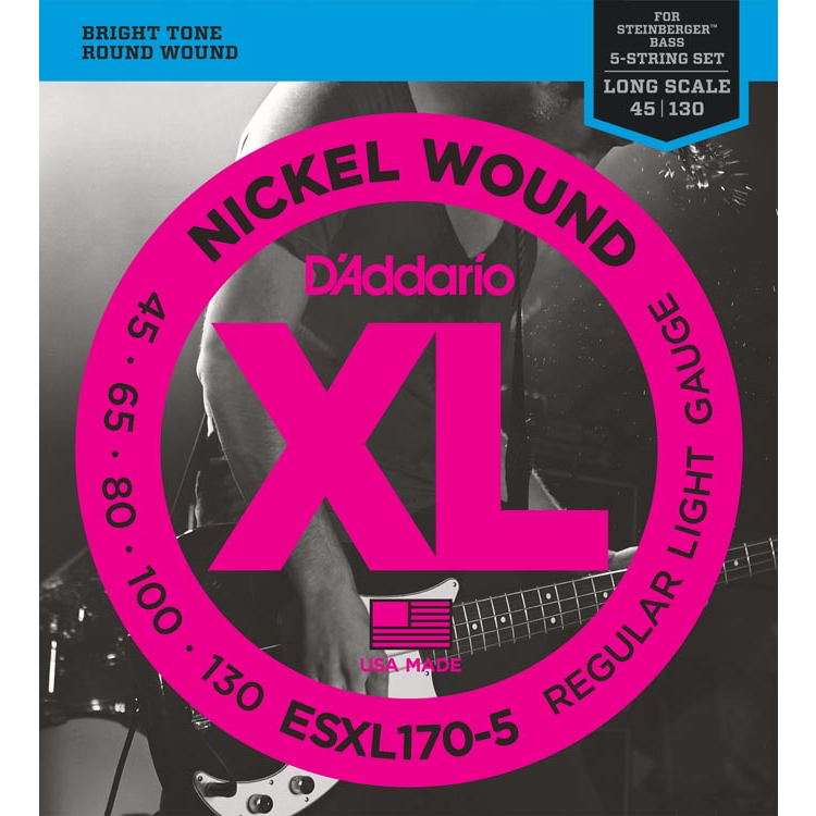 D'Addario ESXL170-5 Nickel Wound 5-String Bass Guitar Strings - Light - 45-130 - Double Ball End - Long Scale