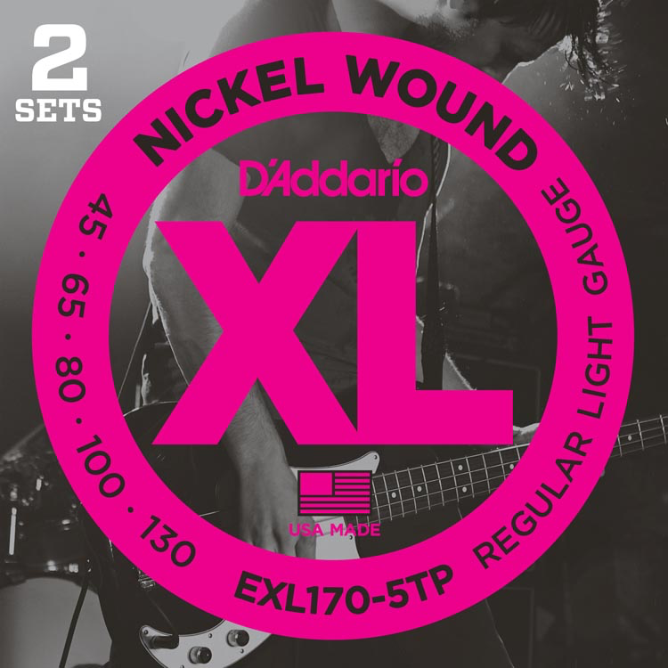 D'Addario EXL170-5TP Nickel Wound Bass Guitar Strings - Light - 45-130 - 2 Sets - Long Scale