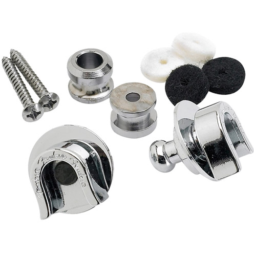 Fender Strap Locks And Buttons - Chrome (2 Pack)