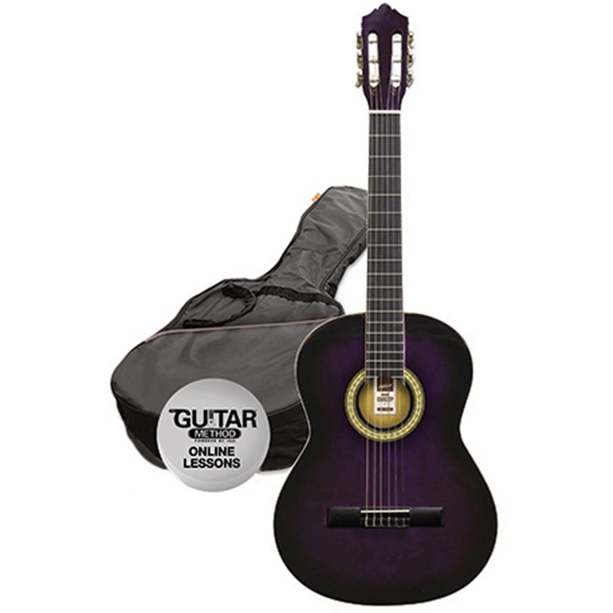 Ashton SPCG12 TP Classical Guitar Starter Pack - 1/2 Size - Transparent Purple