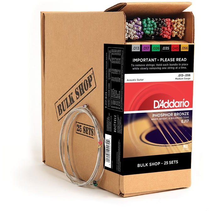D'Addario EJ17-B25 Phosphor Bronze Acoustic Guitar Strings - Medium - 13-56 - 25 Bulk Sets