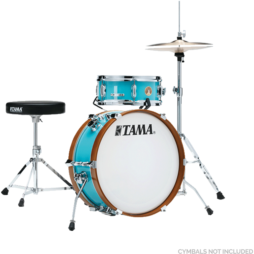 "The TAMA Club-JAM Mini 2-piece complete kit with 18"" Bass Drum, Hi-Hat Stand, Drum Pedal, Snare Stand & Drum Throne Hardware in - Aqua Blue(AQB)"