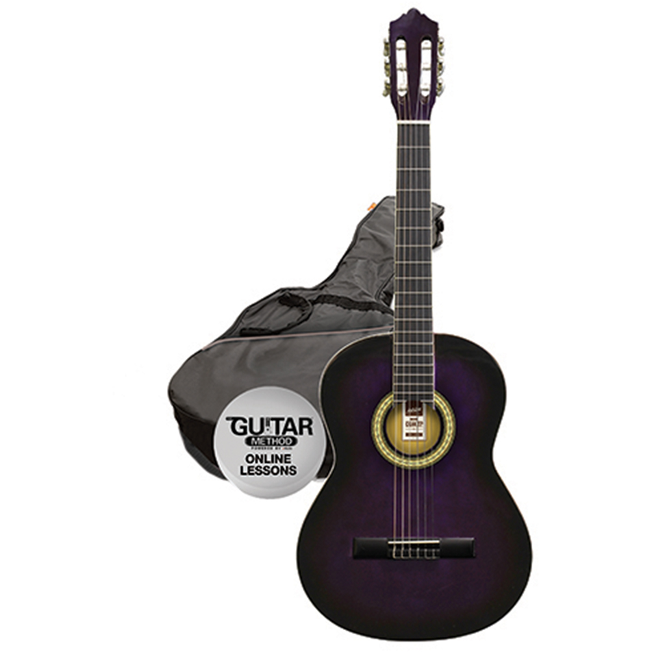 Ashton SPCG44 TP Classical Guitar Starter Pack - Full Size - Transparent Purple