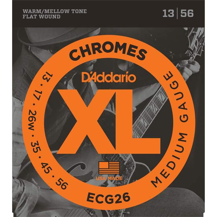 D'Addario ECG26 Chromes Flat Wound Electric Guitar Strings - Medium - 13-56