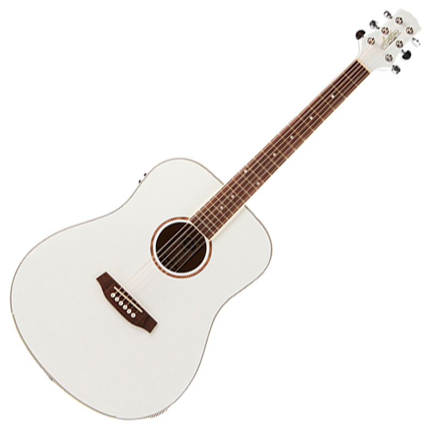 Ashton D26EQ WH White Dreadnought Acoustic Guitar