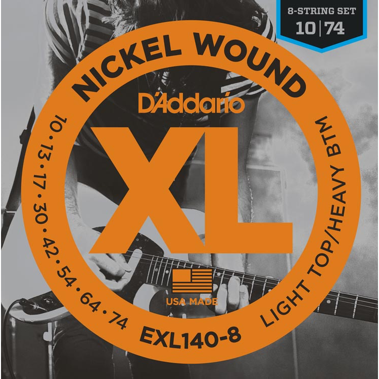 D'Addario EXL140-8 8-String Nickel Wound Electric Guitar Strings - Light Top/Heavy Bottom - 10-74