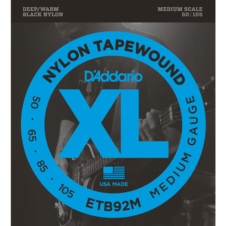 D'Addario ETB92M Tapewound Bass Guitar Strings - Medium - 50-105 - Medium Scale