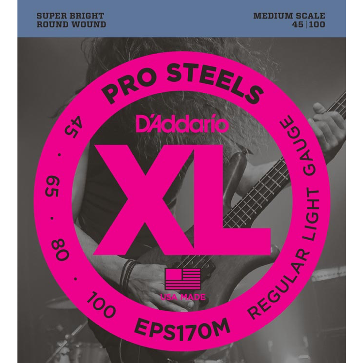 D'Addario EPS170M ProSteels Bass Guitar Strings - Light - 45-100 - Medium Scale