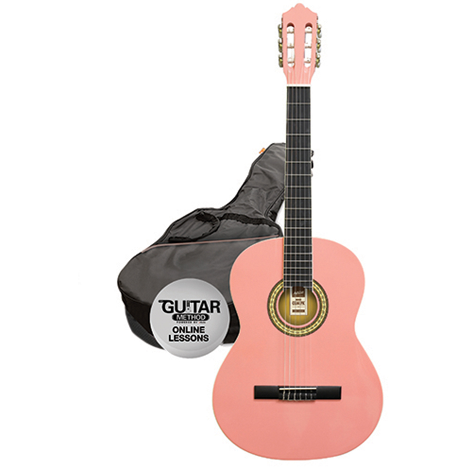 Ashton SPCG44 PK Classical Guitar Starter Pack - Full Size - Pink