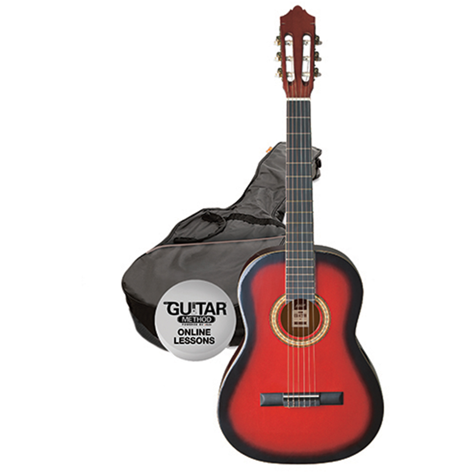 Ashton SPCG44 TRB Classical Guitar Starter Pack - Full Size - Transparent Red Burst