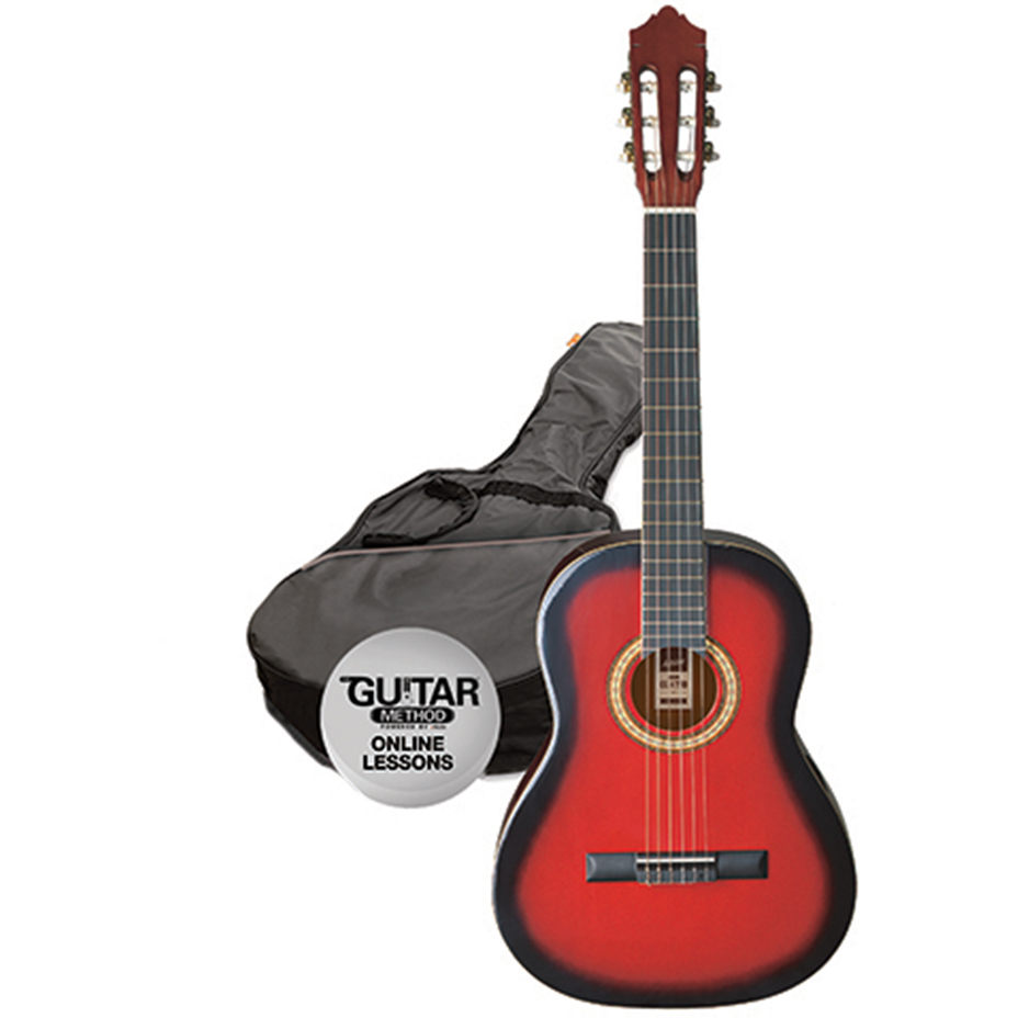 Ashton SPCG14 TRB Classical Guitar Starter Pack - 1/4 Size - Transparent Red burst