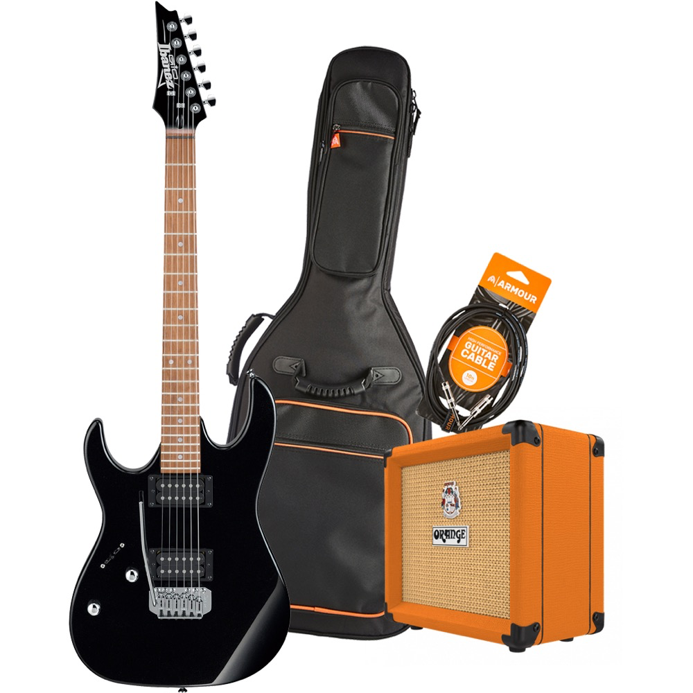 Ibanez RX22EXLBKN Electric Guitar Pack with Orange Crush 12 Amplifier - Armour Gig Bag and Lead